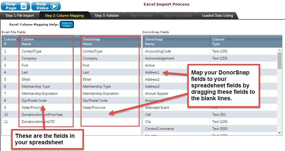 Excel Import: Map your spreadsheet to your DonorSnap fields